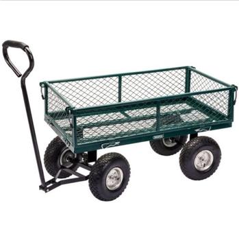 High Quality Four Wheel Trailing Durable Metal Mesh Garden Wagon Cart