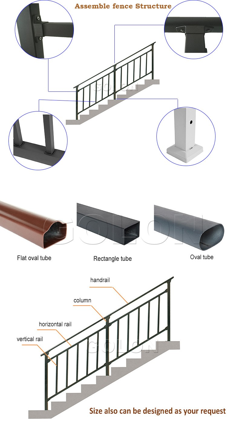 Outdoor metal stair railing or removable aluminum steel - Removable swimming pool handrails ...