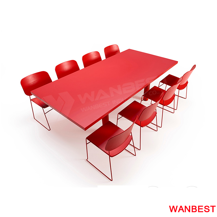 Modern Custom Solid Surface Red Office Sectional Meeting Room Desk Conference Table for 8 to 10 Person