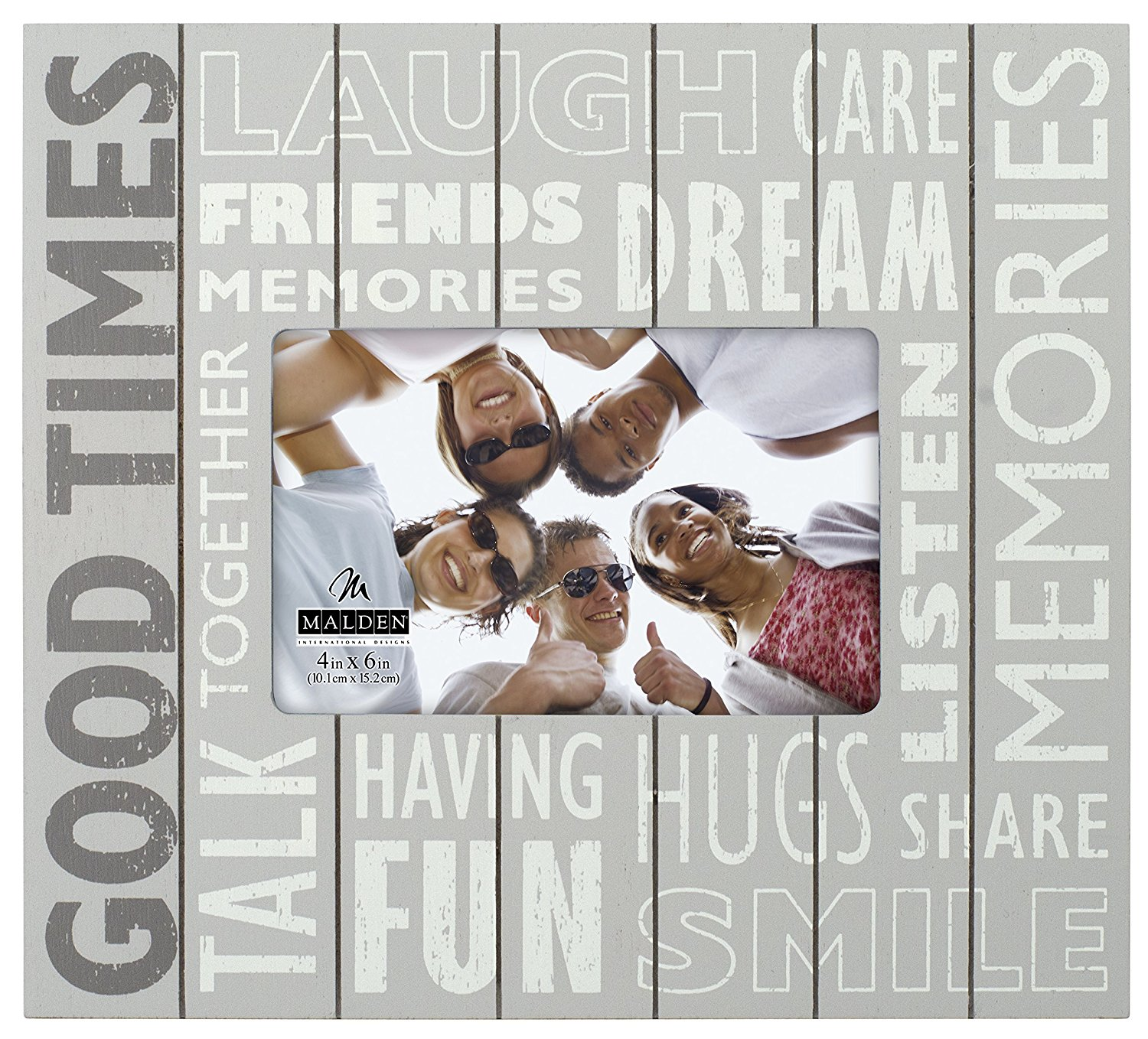 """Malden International Designs Subway Signs Silkscreened on Distressed Routed Wood """"Good Times"""" Grey Picture Frame, 4x6, Gray"""