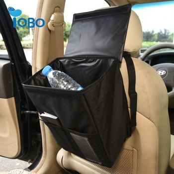 OEM Luxury design quality storage pockets can waterproof trash bag car collapsible beige foldable car trash bag