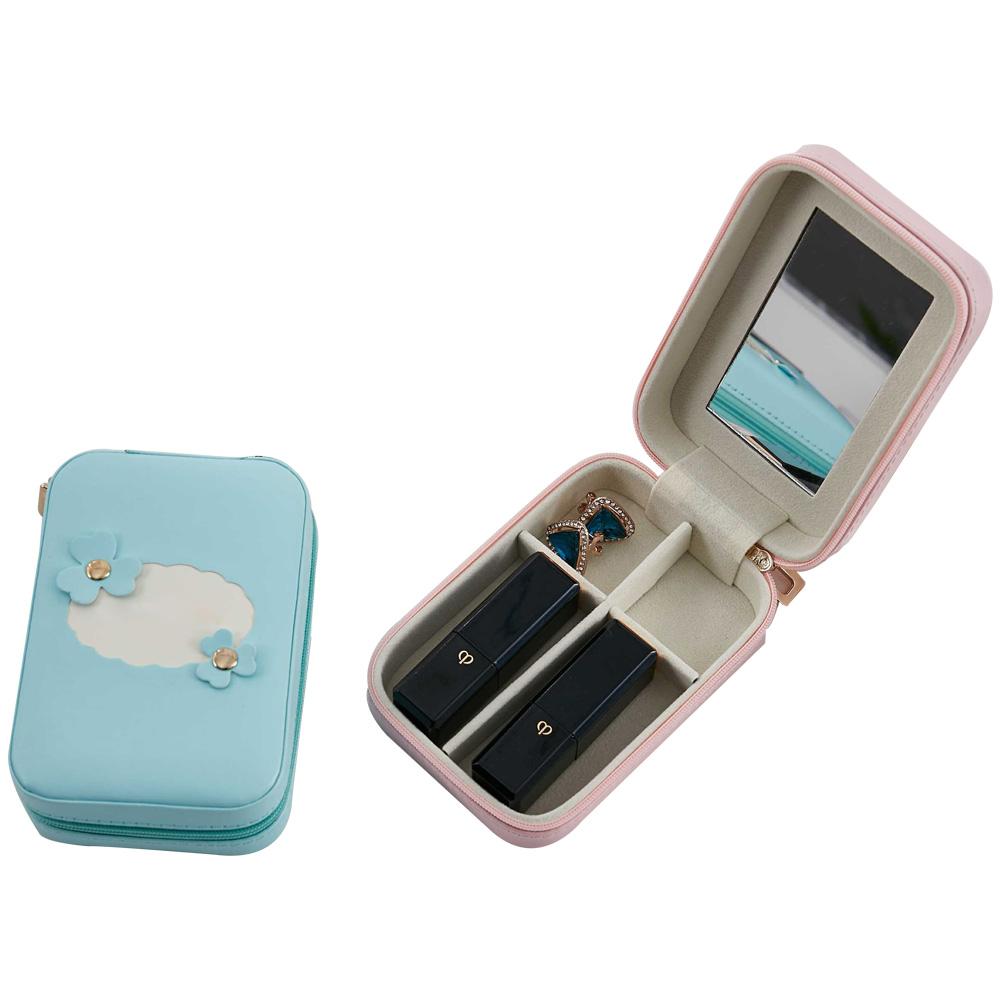 Fabrication Pas Cher Semilune Bleu Marine Sac de Rouge À Lèvres avec Miroir Facile à Transporter