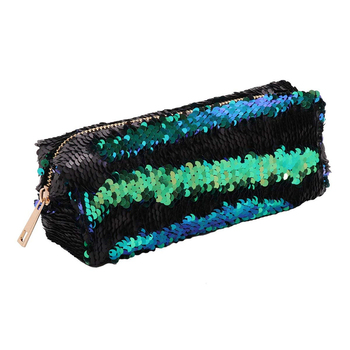 Sequin Cosmetic Pouch Reversible Double Color Pencil Case Glitter Pencil Bag