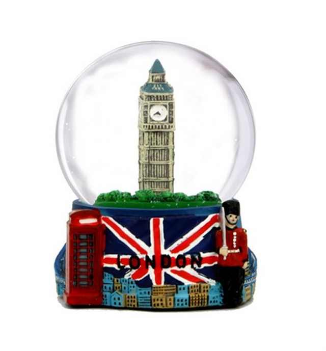 Salju Dunia dengan Big Ben London dan Union Jack Flag, (3.5 Inches Tinggi), 65mm London salju Dunia