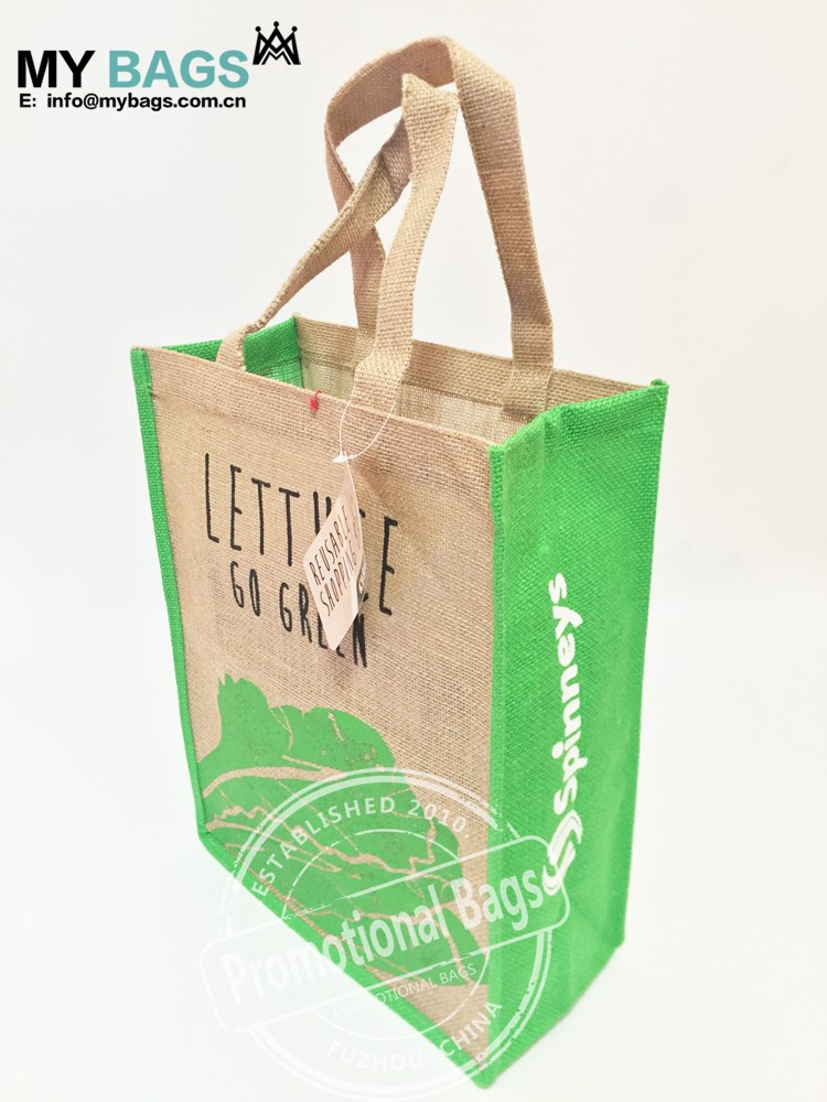 Customized Promotional Jute Tote Bag With Bamboo Cane Handle