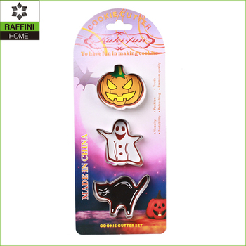 Halloween 3pc stainless steel cookie mould set