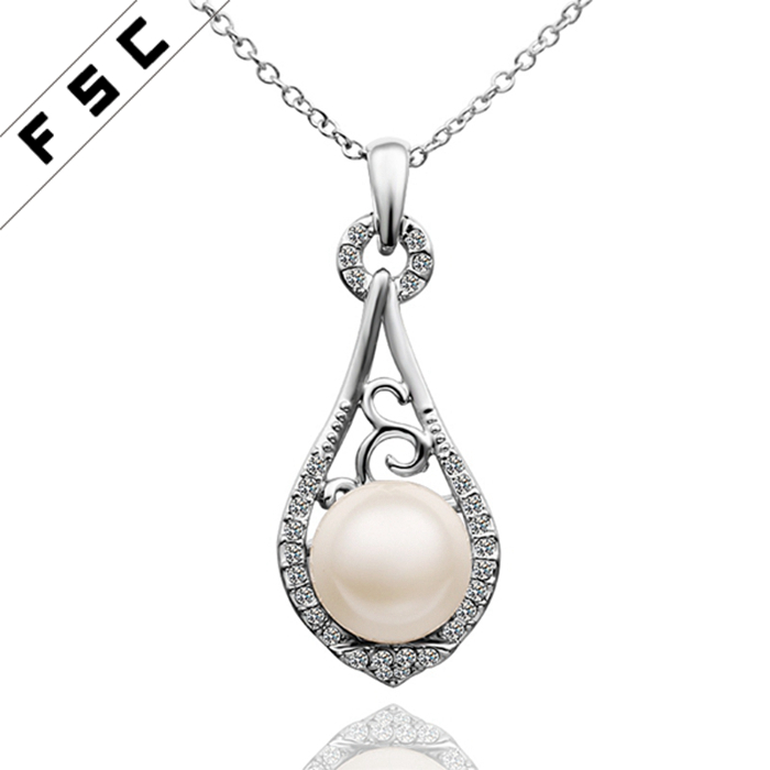 OL style pearl pendant white gold plated chain popular alloy necklace for ladies