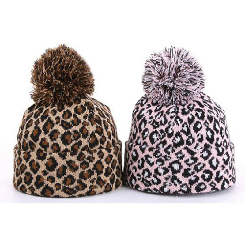 Get Quotations · New Dots Leopard Beanie Knitted Wool Hat with Ball Warm  Winter Polo Hats for Women Hip 80d66b7cb4a7