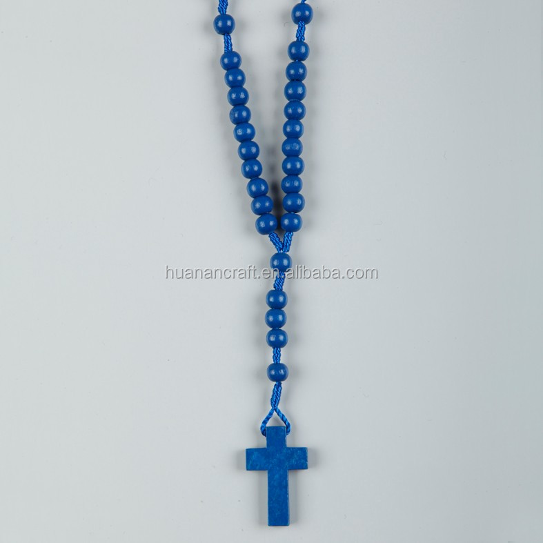 8mm wood bead cord rosary necklace