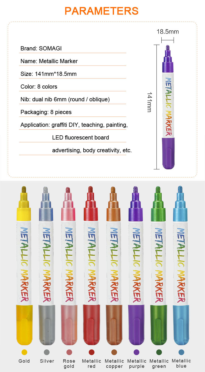 New arrival erasable chalk marker pen metallic color for whiteboard windows non-porous surface with EN71-3 MSDS ASTMD4236