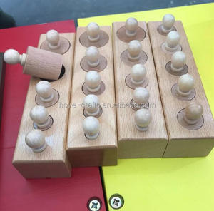 Family Pack Wooden Montessori Educational Toy Montessori Wooden Cylinder Socket 4pcs/set