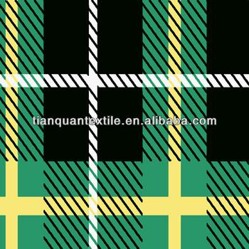 Green Black Yellow Tartan Plaid Check Cotton Flannel Shirt Fabric ...