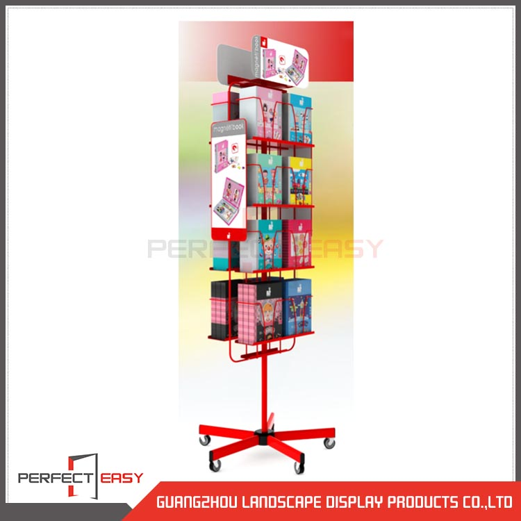 Custom made spinning metal hook rack/floor standing metal display/greeting card display stands