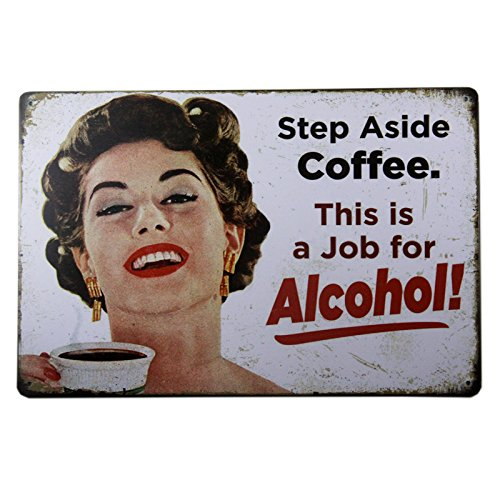 T-ray Step Aside Coffee Vintage Retro Tin Sign Funny Humour 50's Girls Metal Poster