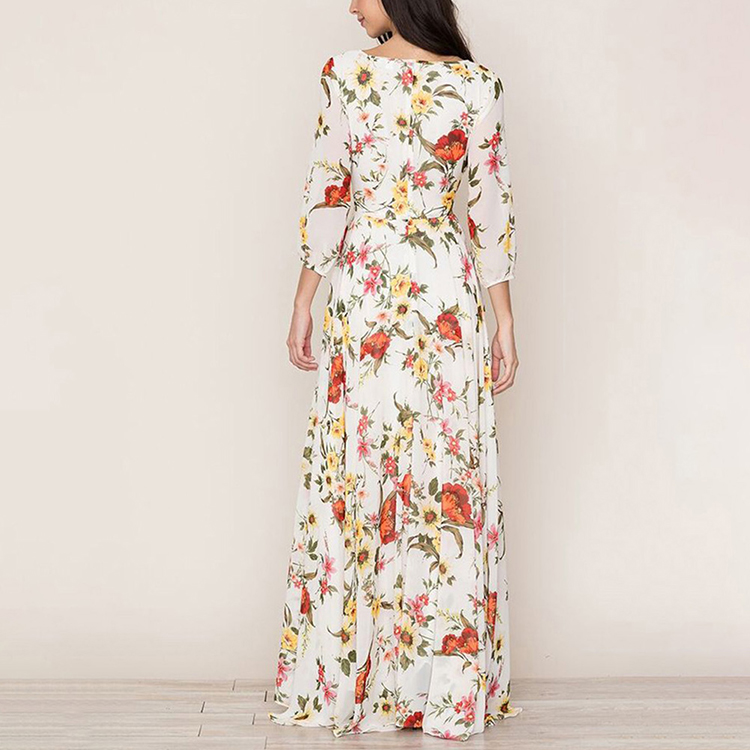 Lover-Beauty White Round Neck Zip Back Bohemia Long Summer Casual Maxi Dress