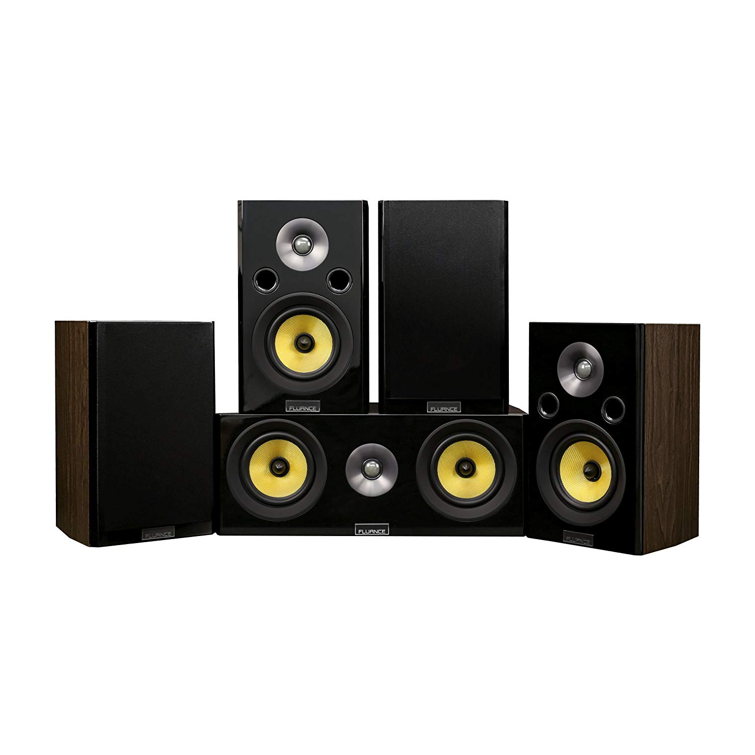 Fluance Signature Series Compact Surround Sound Home Theater 5.0 Channel Speaker System Including Two-Way Bookshelf, Center Channel, and Rear Surround Speakers - Walnut (HF50WC)