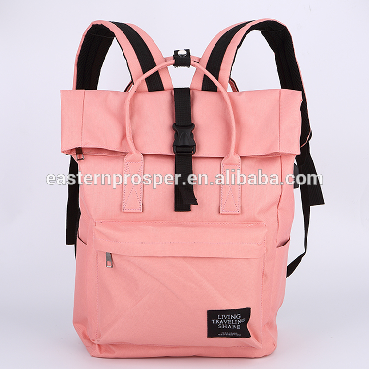 9fbd6522c82a Wild solid color waterproof 600D polyester with PVC backpack with USB  charger for girl