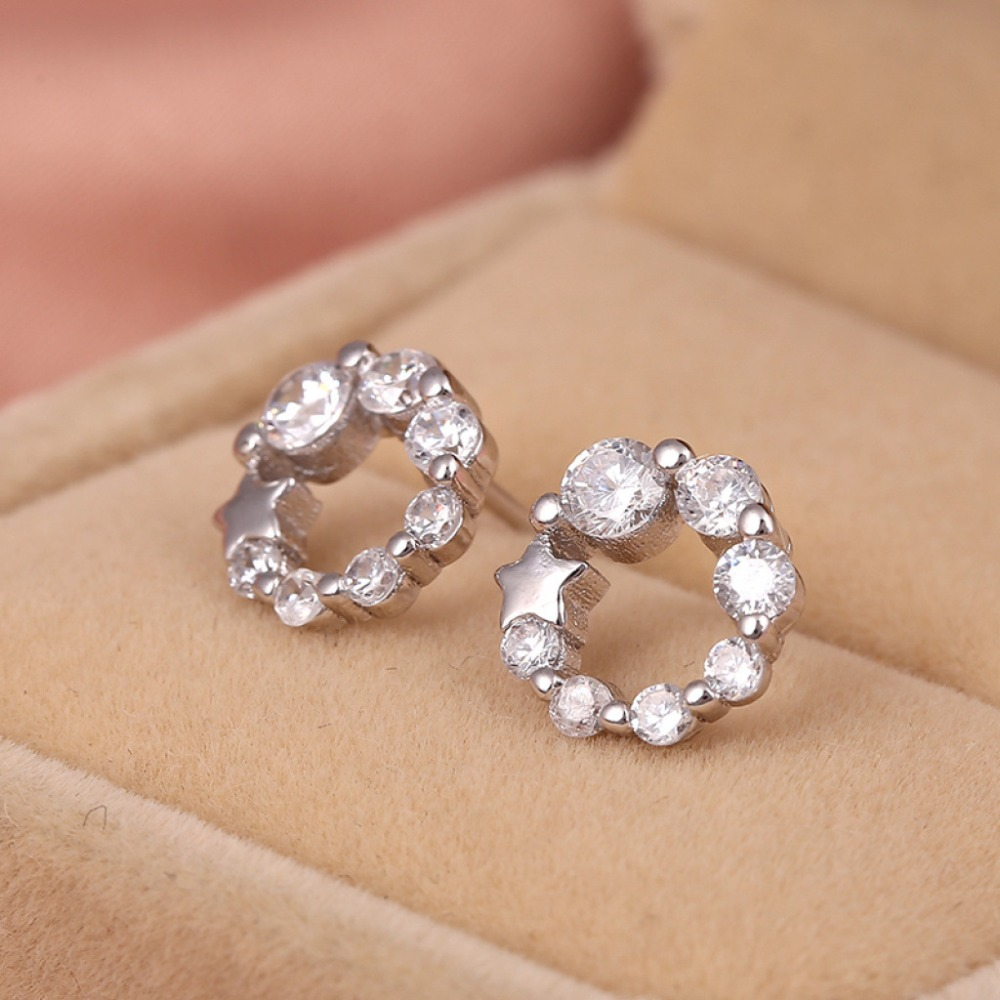 2016 Cheap Wholesale Girl's Diamond Hoop 925 sterling silver Earrings