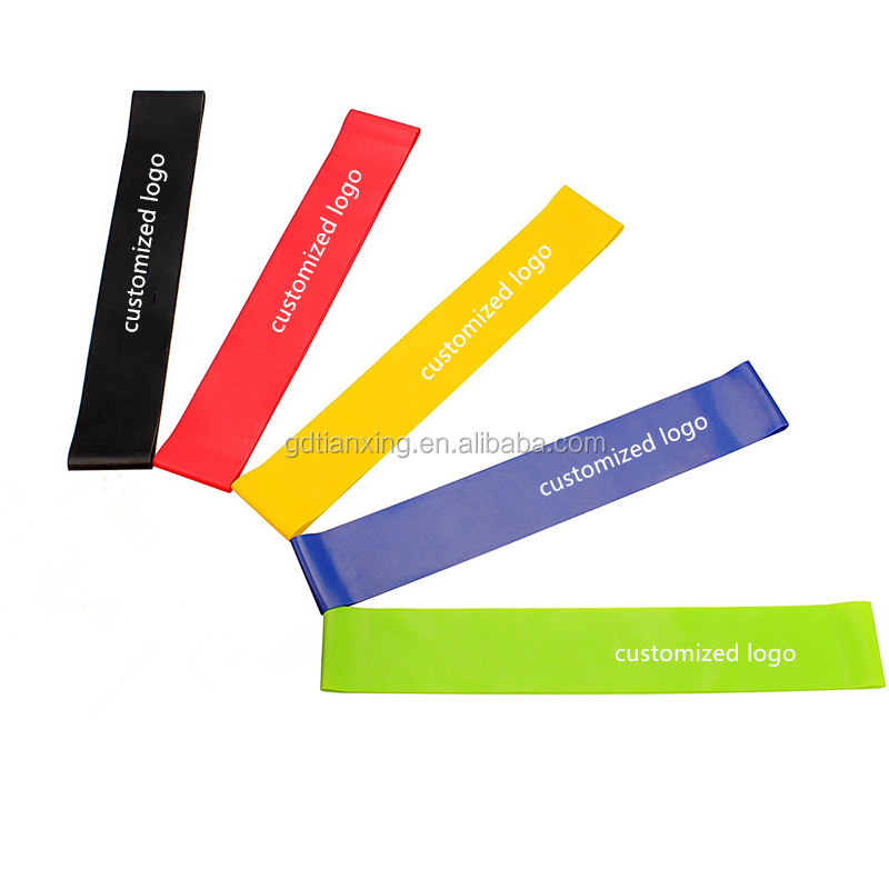 Custom pilates popular elastic yoga fitness band for exercise resistance loop bands