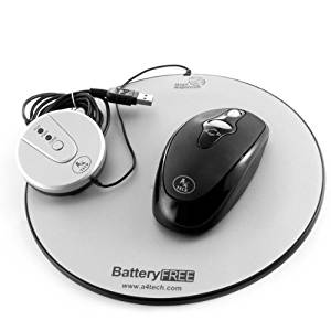 Key Connection Battery-Free Eco-Friendly Wireless Optical Silver Mouse & Pad, Silver/Grey/Black (WLBF95)