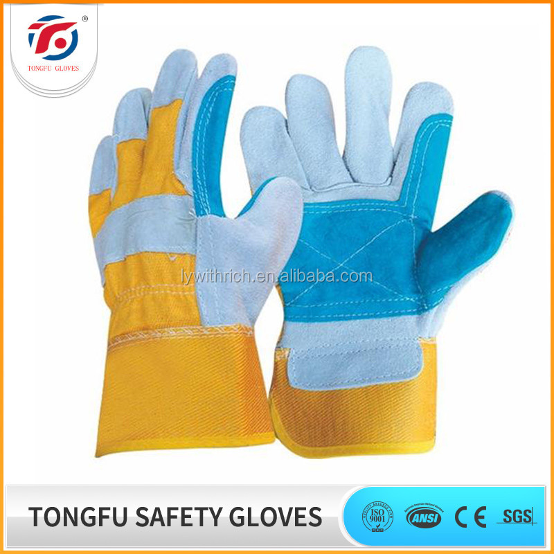 Hot Sale Cowhide Split Leather Heavy Duty Safety Glove Double Palm Leather Glove