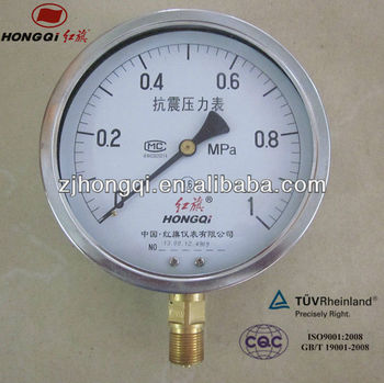 "YTN150mm(6"") seismic pressure gauge bottom connection 0~1 Mpa"