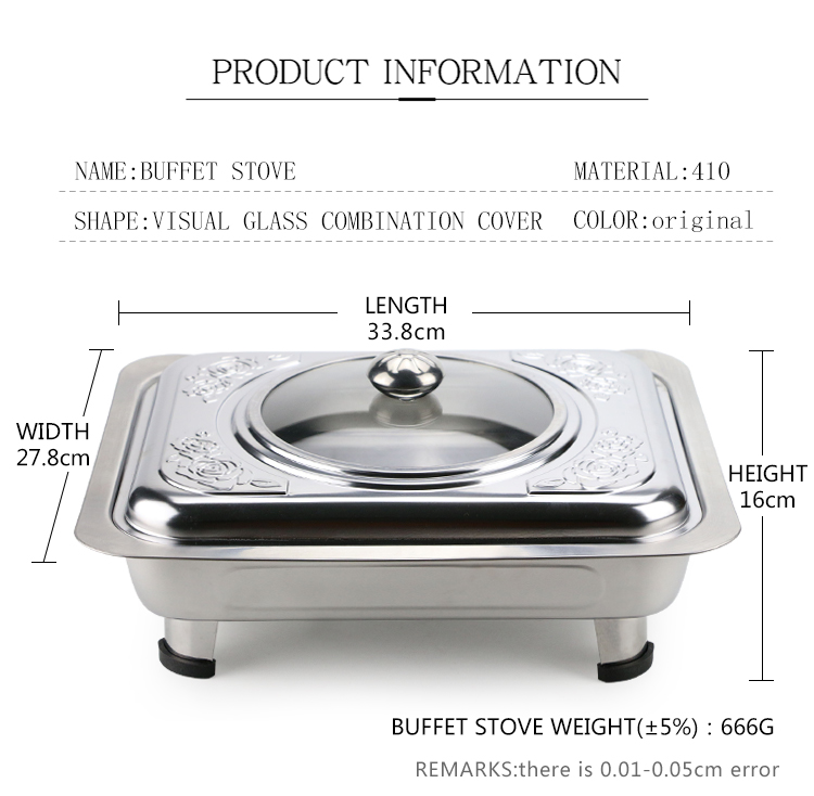Stainless steel hotel food warmer buffet chafing dish food warmer with Flower Printing