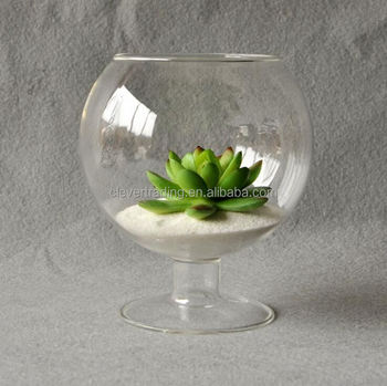 Factory Direct Sale Square Clear Round Fish Bowl Glass Vase For