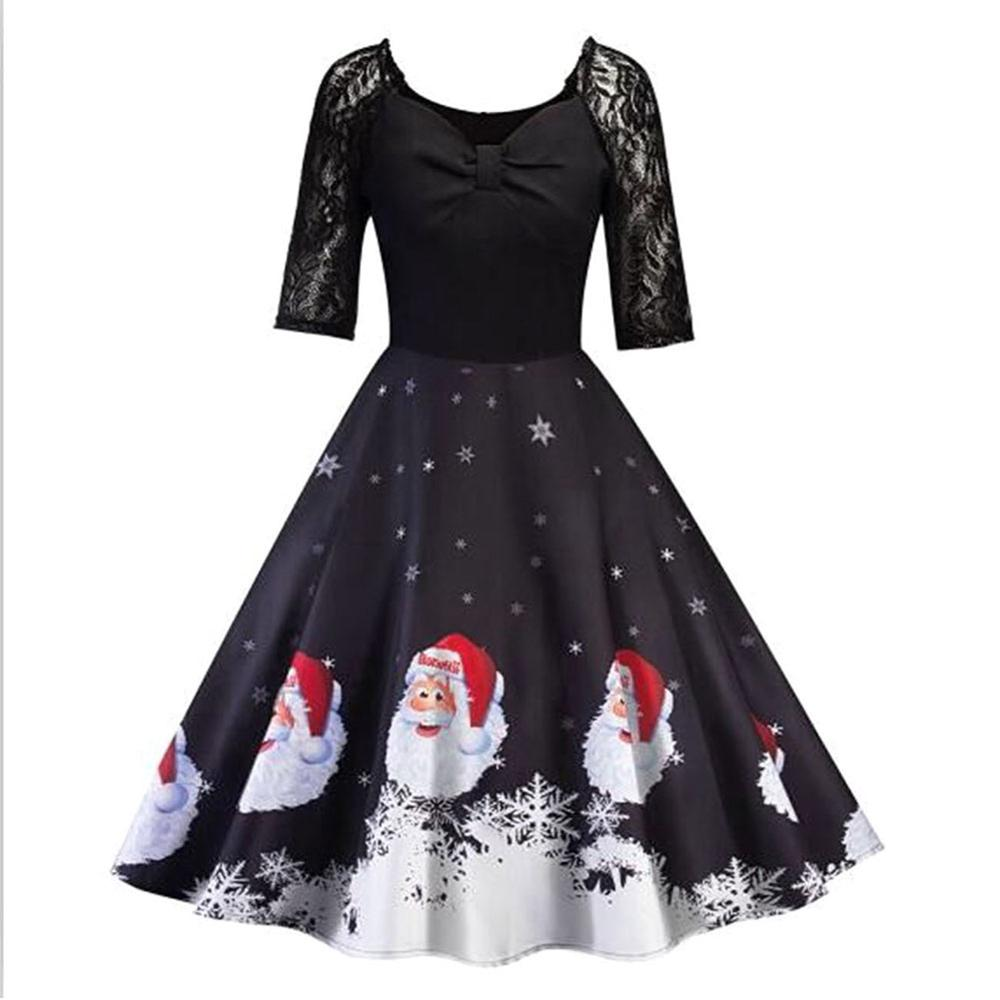 Clearance Christmas Floral <strong>Lace</strong> <strong>Skater</strong> <strong>Dress</strong> V-neck Patchwork <strong>Dress</strong> A-line <strong>Dress</strong>