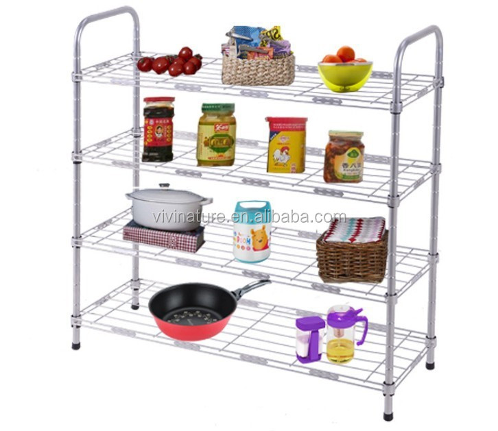 Metal Wire Kitchen Rack With 4 Wheels, Kitchen Storage Rack Trolley Cart