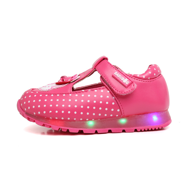 Eur 21-25 Girl Shoes LED 2016 Autumn Leather Cute Cartoon Rubber Hook&Loop Baby Toddler Kids Shoes LED Tenis Infantil B53