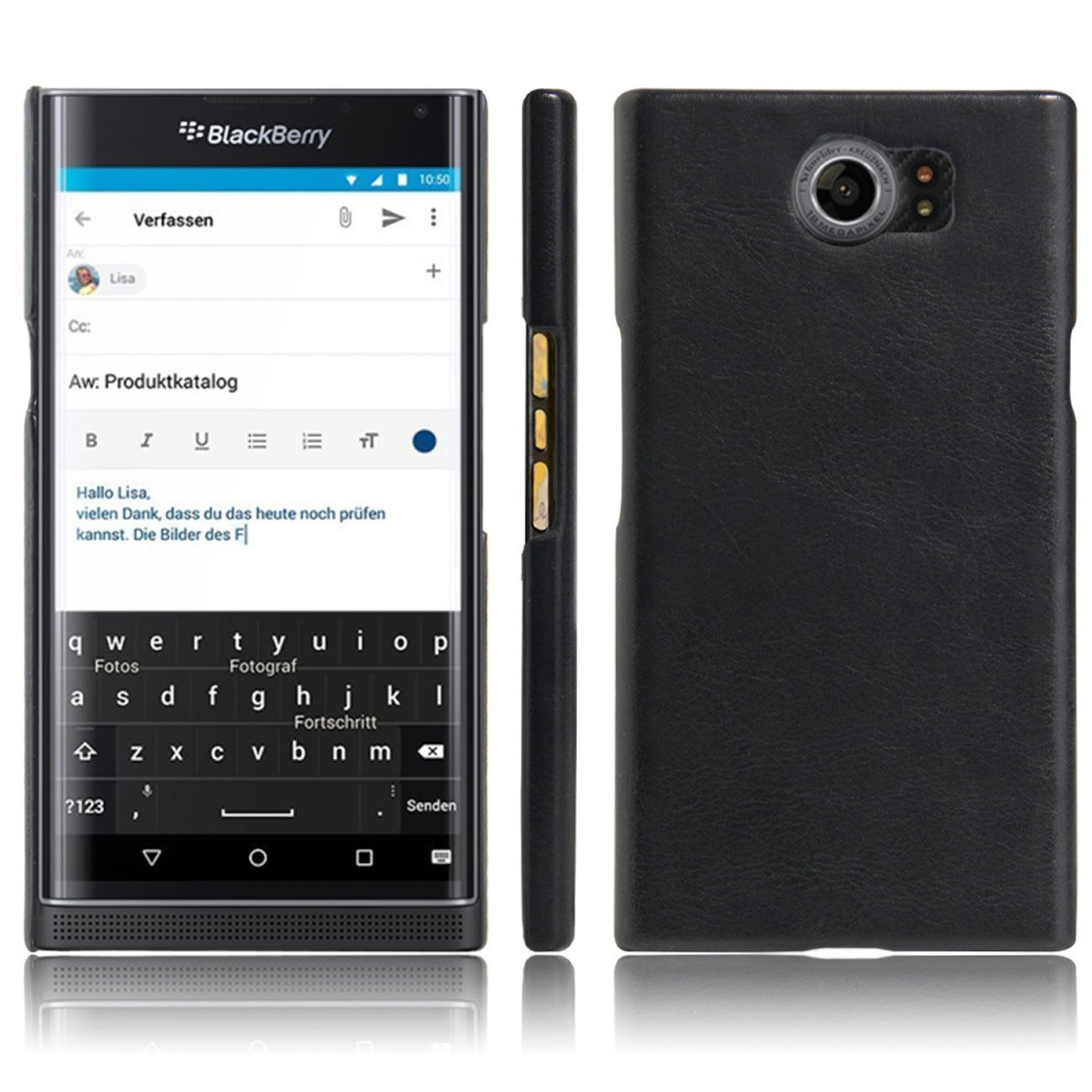 Fettion Blackberry Priv Case, [Thin Fit] Ultra Slim Lightweight PU Leather Phone Case Cover for Blackberry Priv Smartphone (Leather Cover Black)
