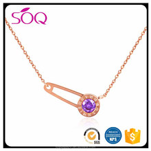 European fashion rose gold crystal necklace needle pin pendant with Roman letter