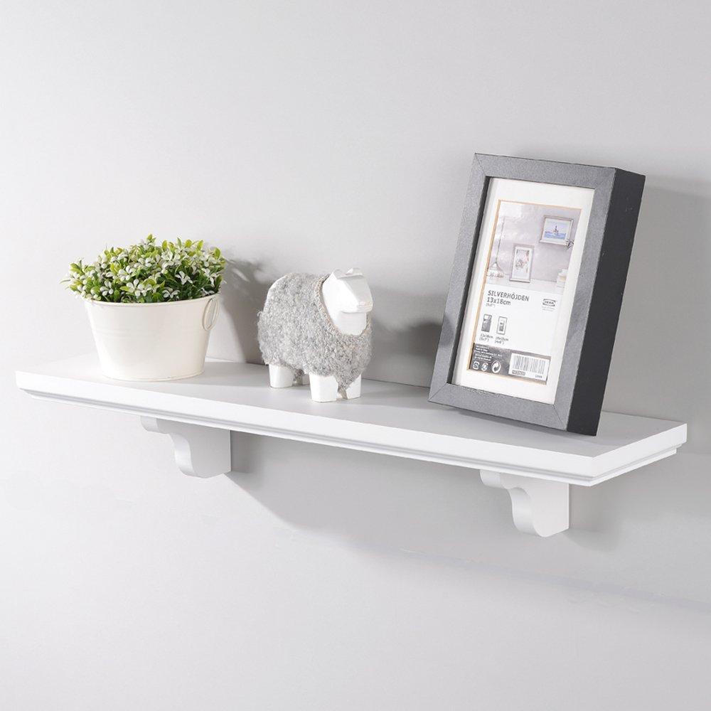 Interiorca Elegant White Laminated Wood Single floating Shelves Organizer, Decorative Wall Mounted Shelf