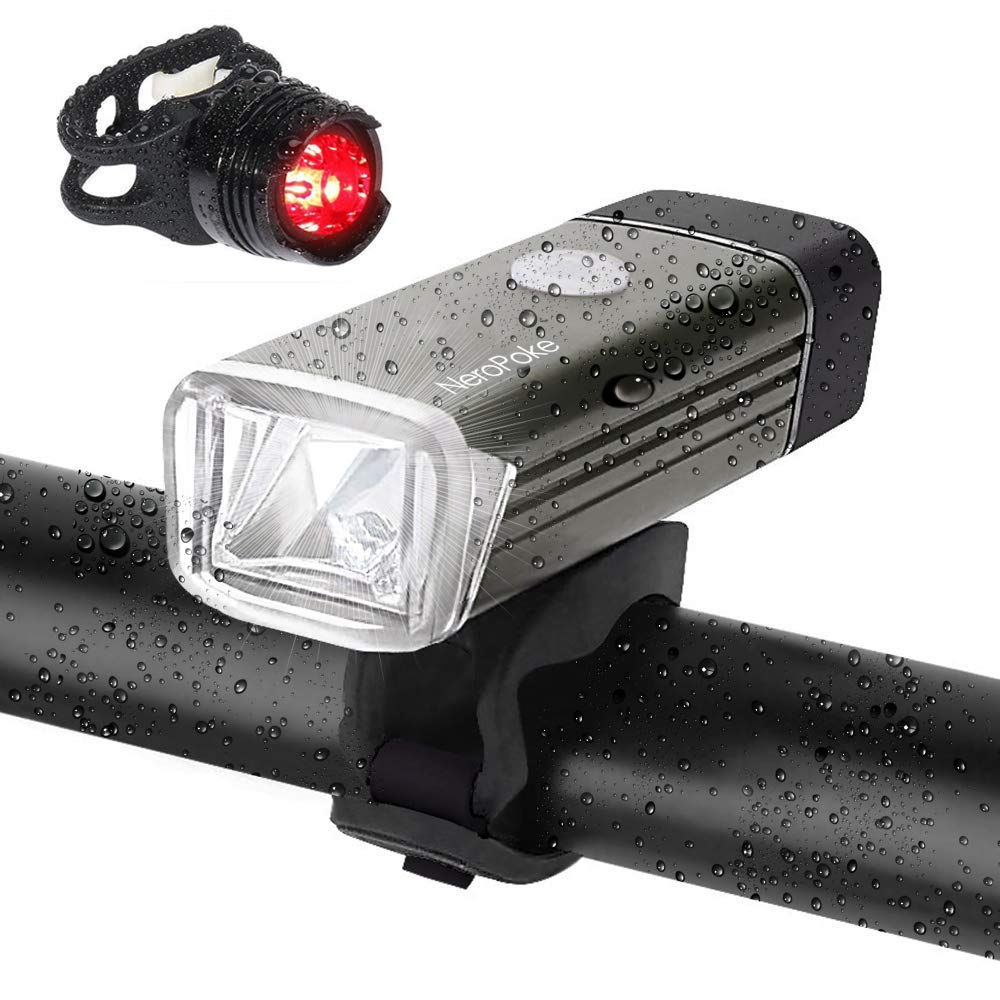 Rechargeable Led Bike Light Bike Rear Tallight Set, Carry-on USB Charging, IPX6 Waterproof Cycle Light Fit All Bike Style(Gray)
