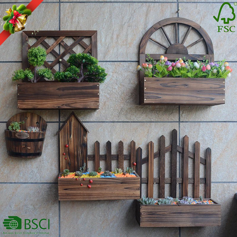 Oem Wall Wooden Planter Box Hanging Flower Pot Chinese