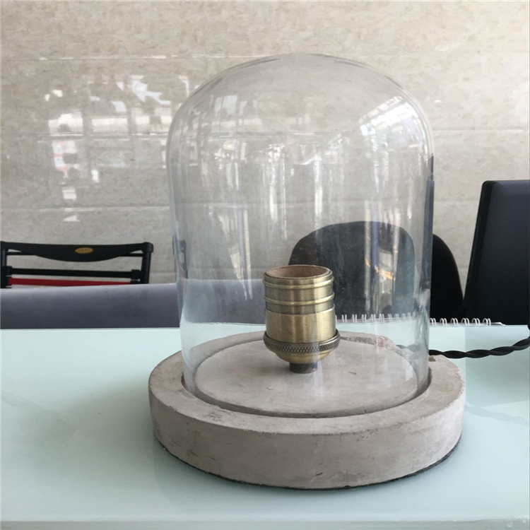 Concrete Ce Cement Round Base Table Lamp With Clear Glass Cylinder