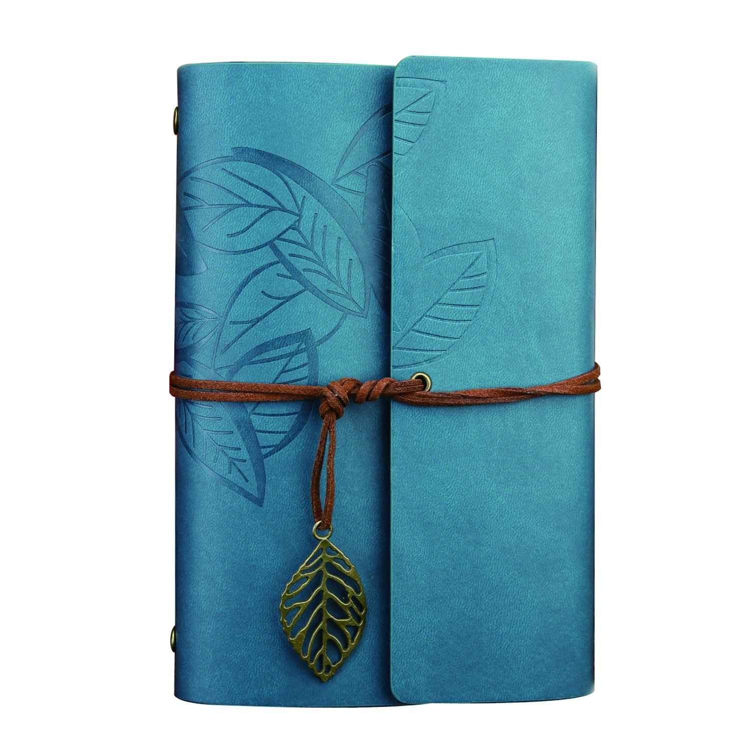 Ai-life Vintage Retro Leaf Pattern PU Leather Cover Notebook Writing Journal Diary, Vintage Spiral Blank Daily Notepad, Unlined Paper, Retro Pendants, Classic Embossed, Loose Leaf