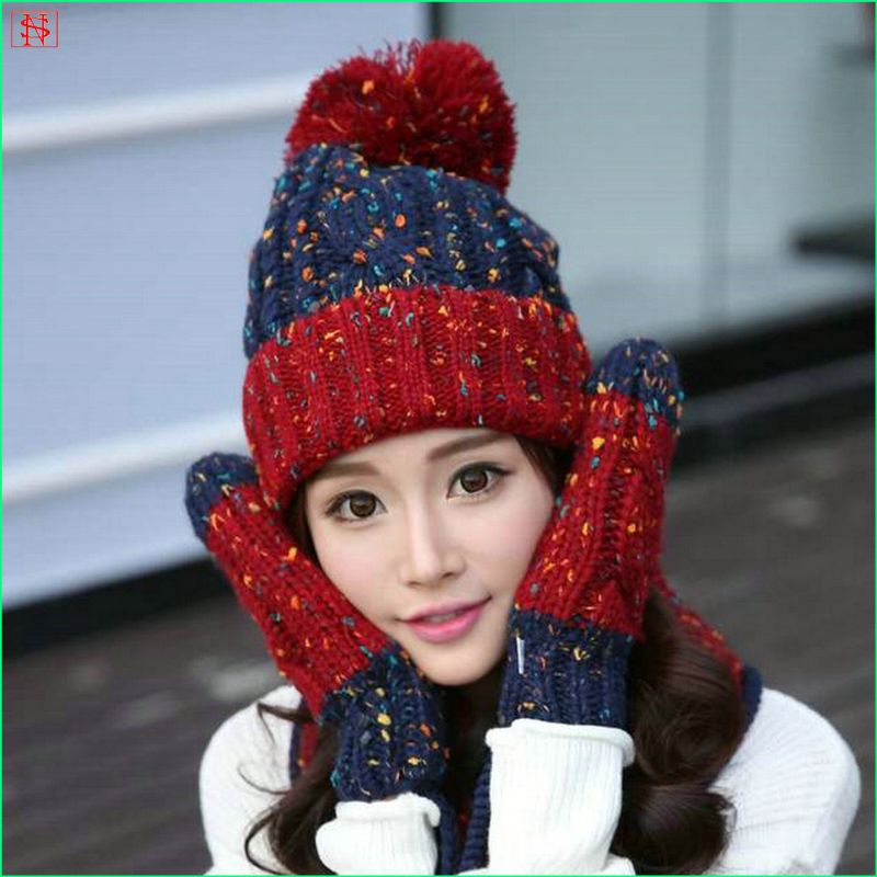 New arrival womens long OEM knitting hat glove scarf set