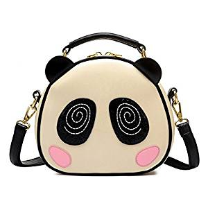 Messenger Bag - SODIAL(R)Print bag Crossbody Bag Circle Bags Leather Women with Fur Ball Of Women Messenger Bag Panda Beige