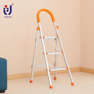 Adjustable three step aluminum tube ladder for home fixing