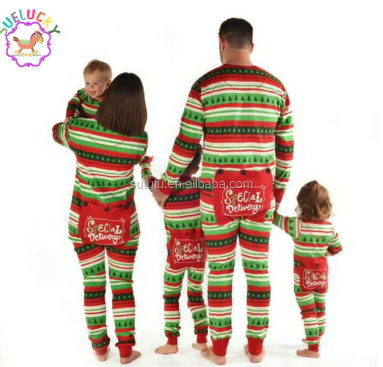 f22f876333d7 Sue Lucky Hot Sale Green And Red Stripes Family Christmas Pajamas ...