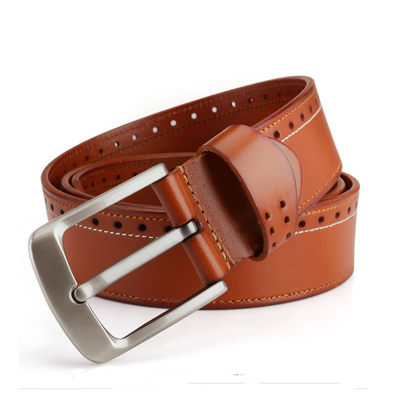 Buy LCY brand strap fashion male cowskin belt pin buckle waistband brown mens designer leather belts free shipping