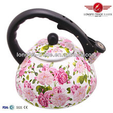 hot sale beautiful rose flower decal enamel whistling tea kettle