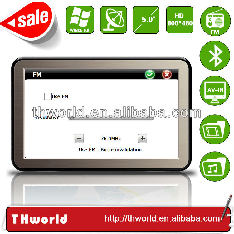 Factory sale 5 inch HD touch screen auto gps navigation model no. K9 with fast 800MHz CPU