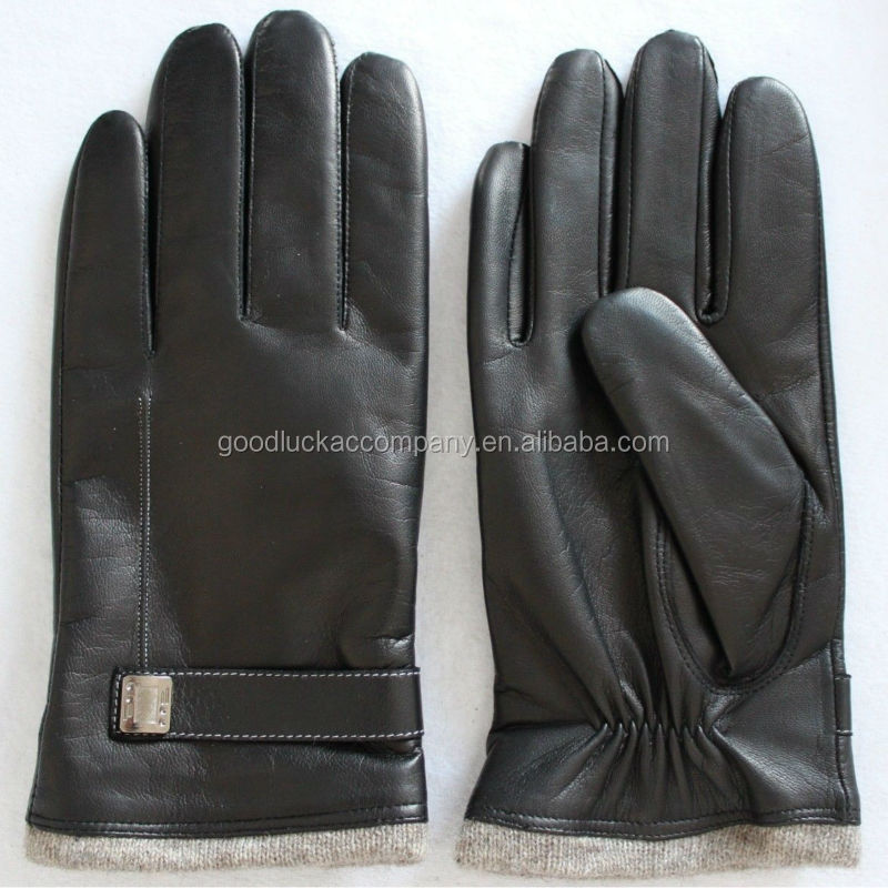 Men China gloves fine leather with cashmere lining