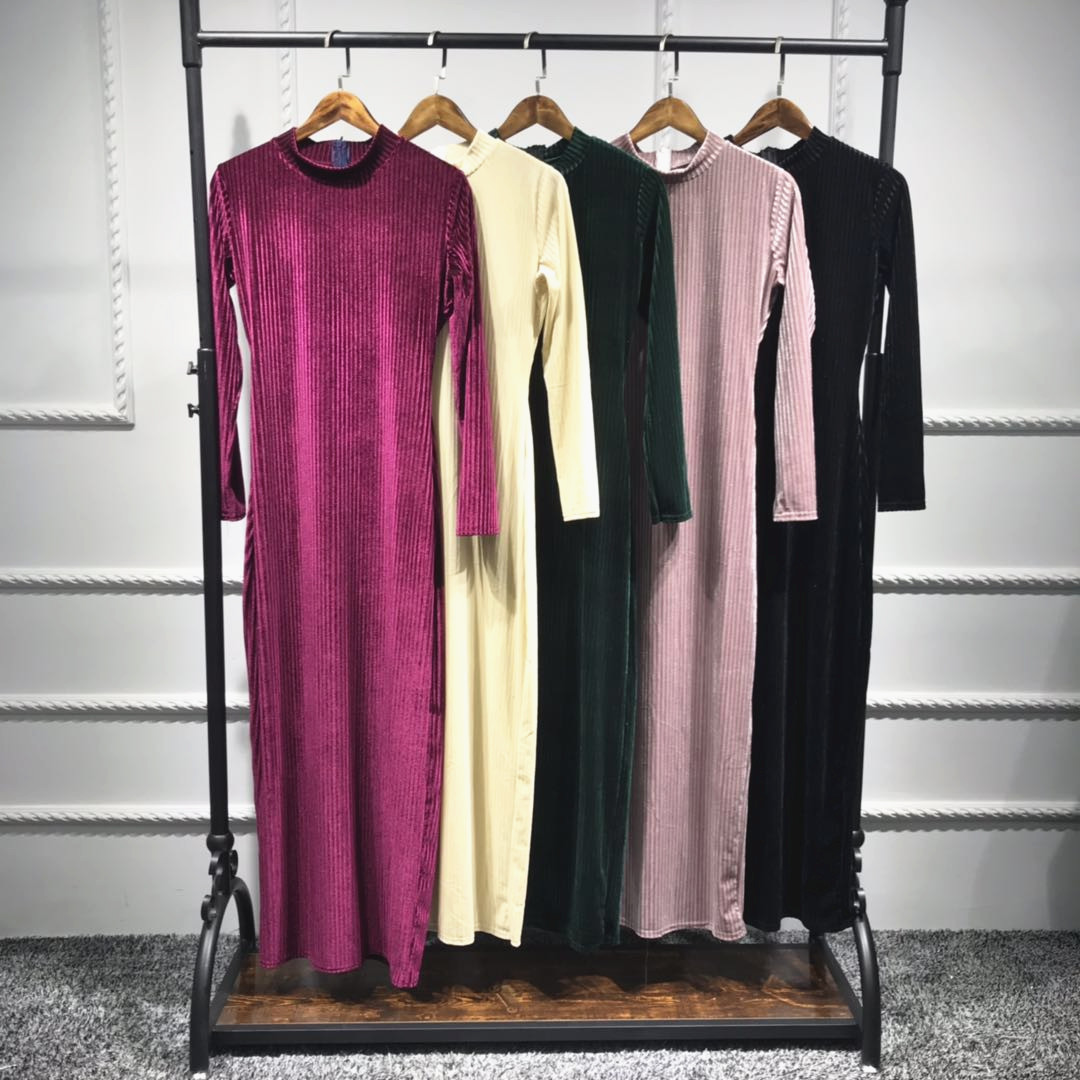 Middle east women velvet fabric long dress abaya muslim dress islamic clothing