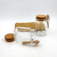 cheap bath salt bottle 8.5oz stash container glass favors jar wide mouth 250ml glass bottle with cork and spoon for body scrub