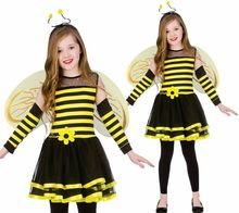 Halloween chicas lindo Bumble Bee traje insectos Animal <span class=keywords><strong>niños</strong></span> <span class=keywords><strong>disfraces</strong></span> AD1192