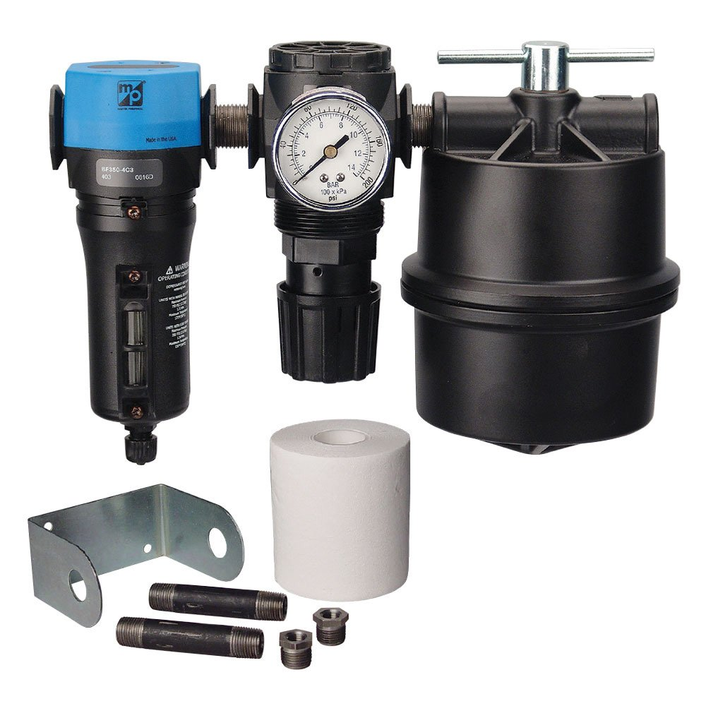 """TP Tools 1/2"""" Two-Stage Filter Regulator System - Master Pneumatic Water Separator BFD380-4C3 and Air Regulator R350-4H Bundled with Coalescing Filter & Accessories, Made in USA, 7 Items"""